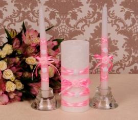 Свечи домашний очаг ярко-розовые  000980