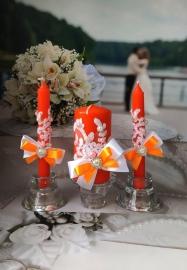 оранжевые свадебные свечи фото