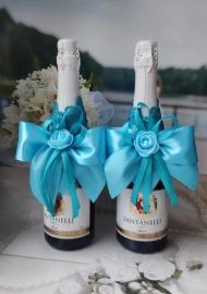 """Украшение для бутылок свадебного шампанского бирюзовое 2 шт. Коллекция """" Бирюзовый восторг"""" 200088"""