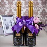 Украшение на 2  бутылки шампанского фиолетовое 000546