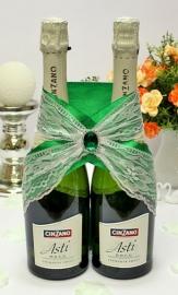 """Украшение на шампанское изумрудное """" Строгость"""" 002255"""