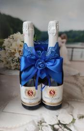 """Украшение на шампанское на 2 бут. """" Синий восторг"""" 000513"""