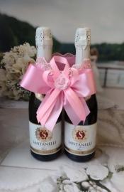 """Украшение на шампанское розовое на 2 бут. Коллекция """"Восторг""""  000525"""
