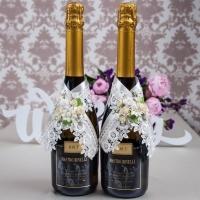 """Украшение на свадебное шампанское айвори """"Цветочная"""" 100009"""