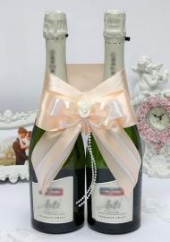 """Украшение на свадебное шампанское бежевое """" Римма"""" 100176"""