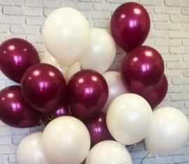 Воздушнче шары бордовй (марсала), белый 25шт.003025