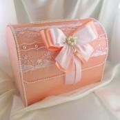 свадебный сундучок атласный персиковый фото