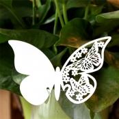 рассадочные карточки на фужеры белые бабочки