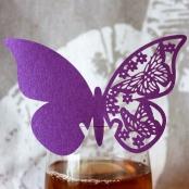 рассадочная карточка сиреневая бабочка на фужер