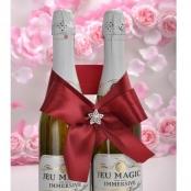 бант на свадебное шампанское бордовый фото