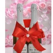красный бант на сваденое шампанское фото