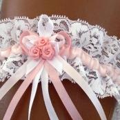 бело-розовая свадебная подвязка из стрейч  кружева фото