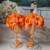 оранжевые бокалы на свадьбу фото