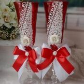 красные свадебные фужеры на красную свадьбу купить