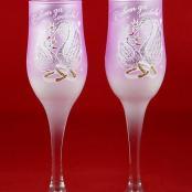 свадебные бокалы розовые лебеди фото