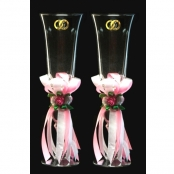 свадебные бокалы с лентами фото