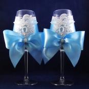 голубые свадебные бокалы с бантами купить