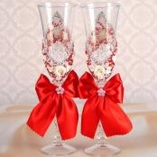 бокалы свадебные красные фото