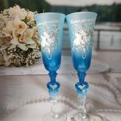 синие голубые свадебные бокалы фото