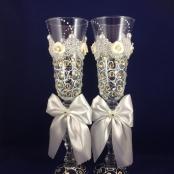 свадебные бокалы со стразами айвори фото