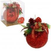 красный елочнй шар ручной работы с шишечкой фото