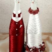 украшение на свадебное  шампанское бордовое тубы