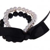 черно-белый браслет жемчужный купить недорого