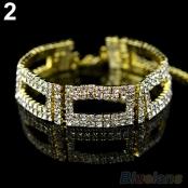 браслет металл золото стразы фото