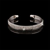 браслет серебро стразы жесткий круг