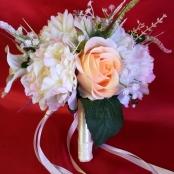 букет дублер персиковые розы и пионы фото