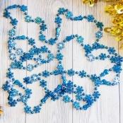 бусы на елку снежинки синие фото