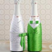 зеленые чехлы на свадебное шампанское купить