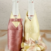 чехлы на свадебное шампанское жених и невеста теплй розовый купить