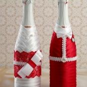 чехлы для свадебного шампанского красные купить