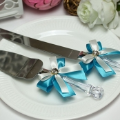 приборы для свадебного торта голубые фото