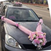 розовй комплект на свадебную машину фото