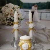 свадебные свечи золотистые фото
