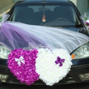 сердца на машину бело-фиолетовые