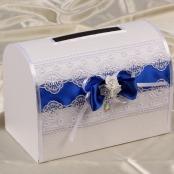 синяя свадебная коробка купить