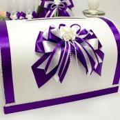бело-фиолетовая коробка для денег на свадьбу купить
