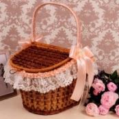 корзина для свадебной прогулки персиковая фото