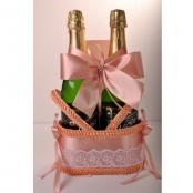 корзинка для шампанского персиковая купить