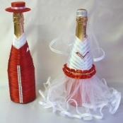 красное украшение на шампанское купить