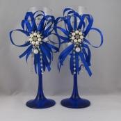 свадебные бокалы синие фото