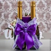 украшение на шампанское фиолетовое купить