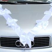 лента с бантами на машину белая
