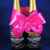 малиновый бант на свадебное шампанское фото