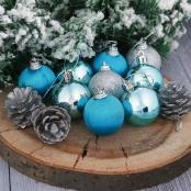 мини елочные игрушки голубо-серебряные фото