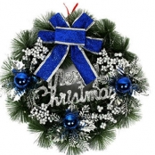 новогодний венок серебристо-синий фото