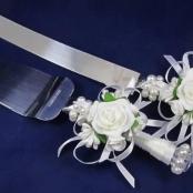 нож и лопатка для торта белые купить